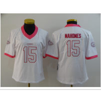 RUGBY WEAR # 15 Mahomes pink white S,M,L,XL,XXL NFL Kansas City Chiefs Women