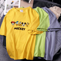 Women's large Summer 2020 M L XL 2XL 3XL T-shirt singleton  commute easy thin Socket Short sleeve Cartoon letters with animal patterns Korean version Crew neck routine polyester routine Piaofen 18-24 years old 91% (inclusive) - 95% (inclusive) Polyester 95% polyurethane elastic fiber (spandex) 5%