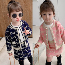 suit Other / other Red (in stock), pink (in stock), Navy (in stock), one yard smaller 80cm,90cm,100cm,110cm,120cm,130cm,140cm female spring and autumn leisure time Long sleeve + skirt 2 pieces routine There are models in the real shooting Single breasted nothing Dot other children Expression of love