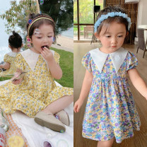 Dress Light yellow, benzene powder, oil blue female Other / other 80cm,90cm,100cm,110cm,120cm,130cm,140cm Polyester 100% spring and autumn leisure time Short sleeve Broken flowers other A-line skirt Spell magic-2058 other Three, four, five, six, seven, eight Chinese Mainland Guangdong Province
