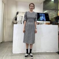 Dress Summer 2021 Black and white check S,M,L Mid length dress singleton  Short sleeve commute Crew neck High waist lattice puff sleeve Korean version 51% (inclusive) - 70% (inclusive) polyester fiber