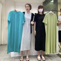 Dress Summer 2021 Gray, black, peacock blue, fruit green Average size Mid length dress singleton  Short sleeve commute Crew neck Solid color Socket raglan sleeve Korean version More than 95% cotton