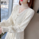 Dress Spring 2021 Picture color S M L XL Mid length dress singleton  Long sleeves commute V-neck High waist Solid color Socket A-line skirt routine Others 25-29 years old Type A Autumn comfort Korean version Three dimensional decorative lace with bow cut and pleated stitching QS168803956 other