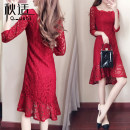 Dress Autumn of 2019 Red and black S M L XL 2XL Mid length dress singleton  Long sleeves commute square neck High waist Solid color Socket A-line skirt routine Others 25-29 years old Type A Autumn comfort Korean version Cut and sew lace QS168802063 More than 95% other Other 100%