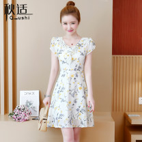 Dress Summer of 2019 S M L XL 2XL Mid length dress singleton  Short sleeve commute V-neck High waist Decor zipper A-line skirt routine Others 25-29 years old Type A Autumn comfort Korean version Pleated zipper print More than 95% other Other 100% Pure e-commerce (online only)
