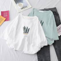 T-shirt White, green, lake green S,XL,L,M Summer 2021 Short sleeve Crew neck easy Regular routine Sweet cotton 96% and above 18-24 years old printing