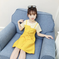 Dress yellow female Bobo goose 100cm 110cm 120cm 130cm 140cm 150cm 160cm Other 100% summer Korean version Short sleeve Solid color A-line skirt X235 Class B Summer of 2019 Chinese Mainland Shanghai Shanghai
