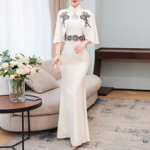 cheongsam Summer 2021 M L XL 2XL 3XL white Sleeveless long cheongsam grace No slits perform Round lapel Solid color Over 35 years old Piping YLXY9377# Yaqng Liu Xi Yao / willow waist polyester fiber Polyester 80% other 20% Pure e-commerce (online only)