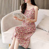 Dress Summer 2020 Yellow green purple rose red deep rose red M L XL longuette singleton  Sweet V-neck middle-waisted Broken flowers zipper A-line skirt camisole 25-29 years old Fruit contract Zipper printing HK2030 More than 95% polyester fiber Polyester 100%