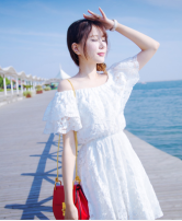 Dress Summer of 2018 Boat socks white Average size Middle-skirt singleton  Sleeveless Sweet One word collar Elastic waist Solid color Socket A-line skirt other camisole 25-29 years old Type A Other / other Lace 51% (inclusive) - 70% (inclusive) polyester fiber Mori