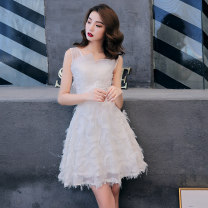 Dress / evening wear Weddings, adulthood parties, company annual meetings, daily appointments XS S M L XL XXL XXXL customized contact customer service White short white long Korean version Short skirt middle-waisted Summer of 2019 Fluffy skirt Sling type zipper 18-25 years old Sleeveless Nail bead
