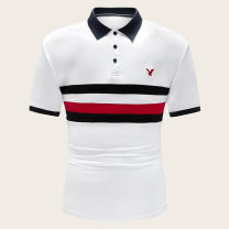 Polo shirt Fashion City routine white S,XL,L,M,XXL easy Other leisure Four seasons Short sleeve Simplicity in Europe and America Winter of 2019 Solid color Cotton ammonia Splicing