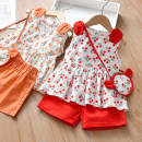 suit Anemora / Eni Mengmeng Pink, red 90cm,100cm,110cm,120cm,130cm female summer Korean version Sleeveless + pants 2 pieces routine No model Single breasted nothing Fruits and Vegetables cotton children Expression of love J2163 Class B Cotton 90% other 10% Chinese Mainland Guangdong Province