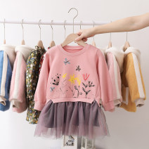 Dress Pink, purple female Anemora / Eni Mengmeng 90cm,100cm,110cm,120cm,130cm,140cm Cotton 90% other 10% spring and autumn Korean version Long sleeves other cotton Splicing style J2105 Class B Chinese Mainland Guangdong Province Foshan City