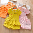 suit Anemora / Eni Mengmeng Pink , yellow , orange 90cm,100cm,110cm,120cm,130cm female summer Korean version Short sleeve + pants 3 pieces routine No model Socket nothing letter cotton children Expression of love J2165 Class B Cotton 90% other 10% Chinese Mainland Guangdong Province Foshan City