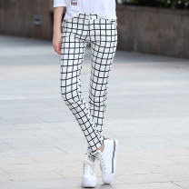 Casual pants Black and white check XS S M L XL XXL XXXL Fall 2017 trousers Straight pants Natural waist original routine 18-24 years old 96% and above Name search cotton cotton Cotton 97% polyurethane elastic fiber (spandex) 3% Pure e-commerce (online only) Asymmetry