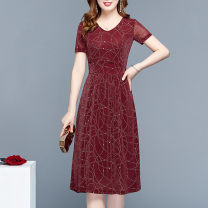 Dress Spring of 2019 Red and black L XL 2XL 3XL 4XL 5XL Mid length dress singleton  Short sleeve commute V-neck middle-waisted Decor Socket Big swing routine Others 40-49 years old Type A Paulito Korean version printing LFDS-S909 More than 95% polyester fiber Other polyester 95% 5%
