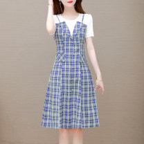 Dress Summer 2021 Medium length skirt Short sleeve Fake two pieces commute lattice Crew neck middle-waisted Condom A-line skirt 40-49 years old routine More than 95% polyester fiber Other 210428BLT207 Button Paulito Other polyester 95% 5% Pure e-commerce (online sales only) L XL 2XL 3XL 4XL 5XL