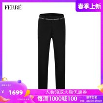 Western-style trousers Ferre Fashion City black 29 30 31 32 33 34 35 36 38 821A393027 trousers Wool 100% Straight cylinder winter leisure time tide Winter of 2019 wool Same model in shopping mall (sold online and offline) More than 95%