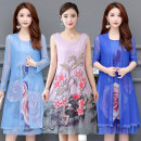 Dress Summer of 2019 XL,2XL,3XL,4XL,5XL Mid length dress singleton  Long sleeves commute Crew neck Loose waist Big flower Socket A-line skirt routine camisole 35-39 years old Type A ethnic style 501 91% (inclusive) - 95% (inclusive) other polyester fiber
