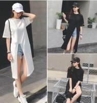 T-shirt White, black Average size Summer of 2018 Short sleeve Crew neck easy Medium length routine Sweet cotton 86% (inclusive) -95% (inclusive) 18-24 years old originality Countryside