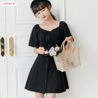 Dress Summer 2020 Black blue S M L Mid length dress singleton  Short sleeve commute square neck High waist Solid color Single breasted A-line skirt routine Others 18-24 years old Type A Basabai Korean version Bowknot stitching strap button More than 95% other polyester fiber Polyester 100%