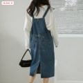 Dress Autumn 2020 Denim blue S M L Mid length dress singleton  Sleeveless commute other High waist Solid color Socket A-line skirt other straps 18-24 years old Type A Basabai Korean version Pocket lace up button BSBY20200818T01 More than 95% Denim other Other 100% Exclusive payment of tmall