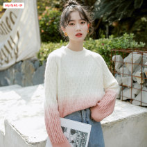 sweater Winter 2020 Average size (within 80kg ~ 130kg) White + pink orange white + grass green Long sleeves Socket singleton  Regular other 95% and above Crew neck Regular commute routine other Straight cylinder Regular wool Keep warm and warm 18-24 years old Basabai BSBY20201014T11 Splicing