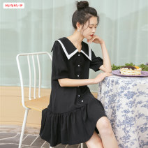 Dress Summer 2021 Dark blue black S M L Mid length dress singleton  Short sleeve commute Admiral High waist Solid color Single breasted other routine Others 18-24 years old Type A Basabai Korean version Stitching buttons BSBY20210325T01 More than 95% other other Other 100%