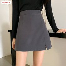 skirt Spring 2021 S M L XL Grey black Short skirt commute High waist A-line skirt Solid color Type A 18-24 years old More than 95% other Basabai other Zipper stitching Korean version Other 100% Pure e-commerce (online only)