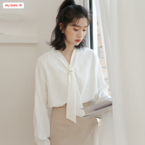 shirt white S M L Spring 2020 polyester fiber 96% and above Long sleeves Original design Regular V-neck Single row multi button shirt sleeve Solid color 18-24 years old Straight cylinder Basabai Frenulum Polyester 100% Exclusive payment of tmall