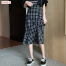 skirt Summer 2020 S M L Hagrid Mid length dress commute High waist Irregular lattice Type A 18-24 years old BSBY20200422T03 More than 95% other Basabai polyester fiber Fold asymmetric splicing Drawstring Korean version Polyester 100% Pure e-commerce (online only)