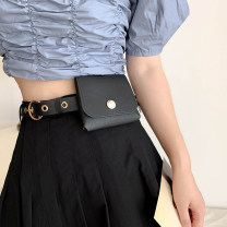 Belt / belt / chain Pu (artificial leather) Black Belt female belt Versatile Single loop Youth Pin buckle Round buckle soft surface 2.4cm alloy alone Wet beauty SM-1424 Autumn 2020