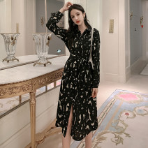 Dress Spring 2021 Black, white S,M,L,XL longuette singleton  Long sleeves commute Polo collar High waist Solid color Single breasted Big swing shirt sleeve Others Type H Other / other Korean version Lace up, button 71% (inclusive) - 80% (inclusive)