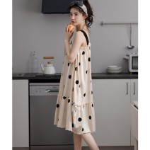 Nightdress Other / other Hmt9969 (Khaki), hmt9968 (blue) M,L,XL,XXL Simplicity camisole pajamas Middle-skirt summer Dot youth Crew neck cotton printing More than 95% pure cotton 200g and below