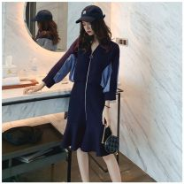 Dress Spring 2020 S,M,L,XL Middle-skirt singleton  Long sleeves commute V-neck High waist zipper Ruffle Skirt Bat sleeve Others 18-24 years old Type A Other Korean version Lotus leaf edge More than 95% Denim other