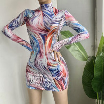 Dress Autumn 2020 colour S,M,L Mid length dress singleton  Long sleeves street Half high collar High waist Abstract pattern Socket other routine Others 18-24 years old Type H dulzura Tie dyeing, printing 91% (inclusive) - 95% (inclusive) other polyester fiber Europe and America