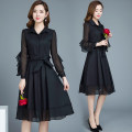 Dress Spring of 2018 Green black M L XL 2XL 3XL 4XL Mid length dress singleton  Long sleeves commute stand collar Solid color other Pleated skirt other Others 35-39 years old Type A Gini language Korean version More than 95% polyester fiber Other polyester 95% 5% Pure e-commerce (online only)