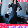 Dress Spring 2021 Black black S M L XL 2XL 3XL Mid length dress singleton  Nine point sleeve commute V-neck middle-waisted Solid color Socket A-line skirt routine Others 40-49 years old Type A Yi meichu lady Embroidered zipper YN-893 More than 95% other other Other 100% Pure e-commerce (online only)