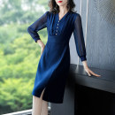 Dress Spring 2021 Tibetan blue- S M L XL 2XL 3XL Mid length dress singleton  Long sleeves commute V-neck middle-waisted Solid color Socket A-line skirt routine Others 40-49 years old Type A Yi meichu lady Stitched button zipper YN-761 More than 95% other other Other 100% Pure e-commerce (online only)