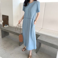 Dress Summer 2020 wathet S M L XL longuette singleton  Short sleeve commute Crew neck Loose waist Solid color A button A-line skirt shirt sleeve Others 25-29 years old Type A Art in love with Su Korean version YLSXT192 51% (inclusive) - 70% (inclusive) Denim cotton Cotton 70% polyester 30%