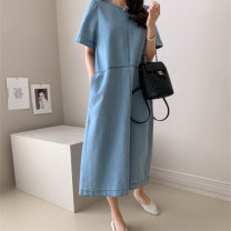 Dress Summer 2020 Light blue denim Navy denim S M L XL longuette singleton  Short sleeve commute Crew neck Loose waist Solid color A button A-line skirt routine Others 18-24 years old Type H Art in love with Su Korean version Button YLSXT134 More than 95% Denim cotton Cotton 95% other 5%