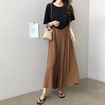 Casual pants Khaki black S M L XL Spring of 2019 Ninth pants Wide leg pants Natural waist commute Thin money 18-24 years old 91% (inclusive) - 95% (inclusive) YLSX018 Art in love with Su polyester fiber Korean version pocket polyester fiber Other polyester 95% 5% Pure e-commerce (online only)