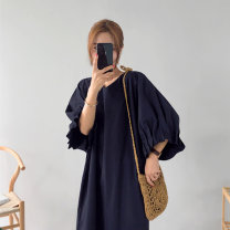 Dress Summer of 2019 Rose Red Black S M L XL Mid length dress singleton  three quarter sleeve commute V-neck Loose waist Solid color Socket other bishop sleeve Others 18-24 years old Type H Art in love with Su Korean version More than 95% other polyester fiber Other polyester 95% 5%