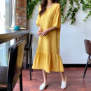 Dress Summer 2020 Black yellow S M L XL longuette singleton  elbow sleeve commute square neck Loose waist Solid color Socket Ruffle Skirt Bat sleeve Others 25-29 years old Type A Art in love with Su Korean version Lotus leaf edge More than 95% brocade cotton Cotton 100% Pure e-commerce (online only)