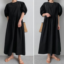 Dress Summer 2020 black S M L XL longuette singleton  Short sleeve commute Crew neck High waist Solid color zipper A-line skirt puff sleeve Others 18-24 years old Art in love with Su Korean version Fold asymmetry More than 95% brocade cotton Cotton 100% Pure e-commerce (online only)