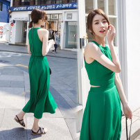 Dress Summer of 2019 Green black S M L XL XXL longuette Fake two pieces Sleeveless commute Crew neck High waist Solid color zipper A-line skirt other Hanging neck style 25-29 years old Korean version strapless  More than 95% Chiffon other New polyester fiber 100% Pure e-commerce (online only)
