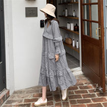 Dress Summer of 2019 Black and white check S M L XL Mid length dress singleton  Long sleeves commute V-neck Loose waist lattice Socket A-line skirt pagoda sleeve 18-24 years old Type A Pashto Korean version Ruffle stitching 51% (inclusive) - 70% (inclusive) hemp Flax 55% cotton 45%
