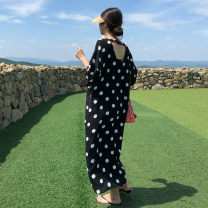 Dress Summer 2021 Black and white dots S M L XL Mid length dress singleton  elbow sleeve commute V-neck Loose waist Dot Socket other Bat sleeve 25-29 years old Type H Pashto Korean version Backless printing YMN011 More than 95% Chiffon polyester fiber Polyester 100% Pure e-commerce (online only)