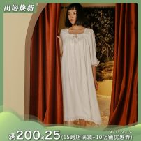Pajamas / housewear set female Personal diary M (French loose design, reference measurement), l (French loose design, reference measurement) Long one piece nightdress, top + pants suit cotton J842